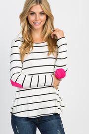 Ivory Striped Suede Patches Maternity Top