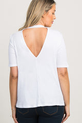 White Mock Neck Back Cutout Maternity Top