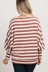 Rust Striped Dolman Puff Sleeve Maternity Top