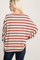 Rust Striped Soft Knit Dolman Puff Sleeve Top