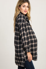 Black Plaid Long Sleeve Oversized Maternity Top