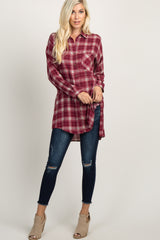 Red Plaid Long Sleeve Oversized Top