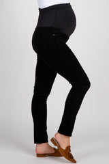 PinkBlush Black Ribbed Suede Maternity Pants