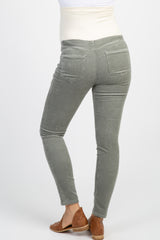 PinkBlush Grey Ribbed Suede Maternity Pants