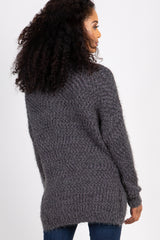 Charcoal Grey Fuzzy Knit Mock Neck Sweater
