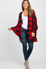 Red Plaid Print Dolman Sleeve Cardigan