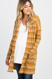 Yellow Striped Ribbed Knit Maternity Cardigan