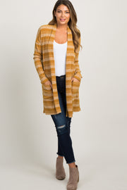 Yellow Striped Ribbed Knit Cardigan