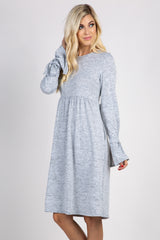 Heather Grey Solid Bell Sleeve Tie Dress