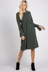 Olive Solid Bell Sleeve Tie Maternity Dress