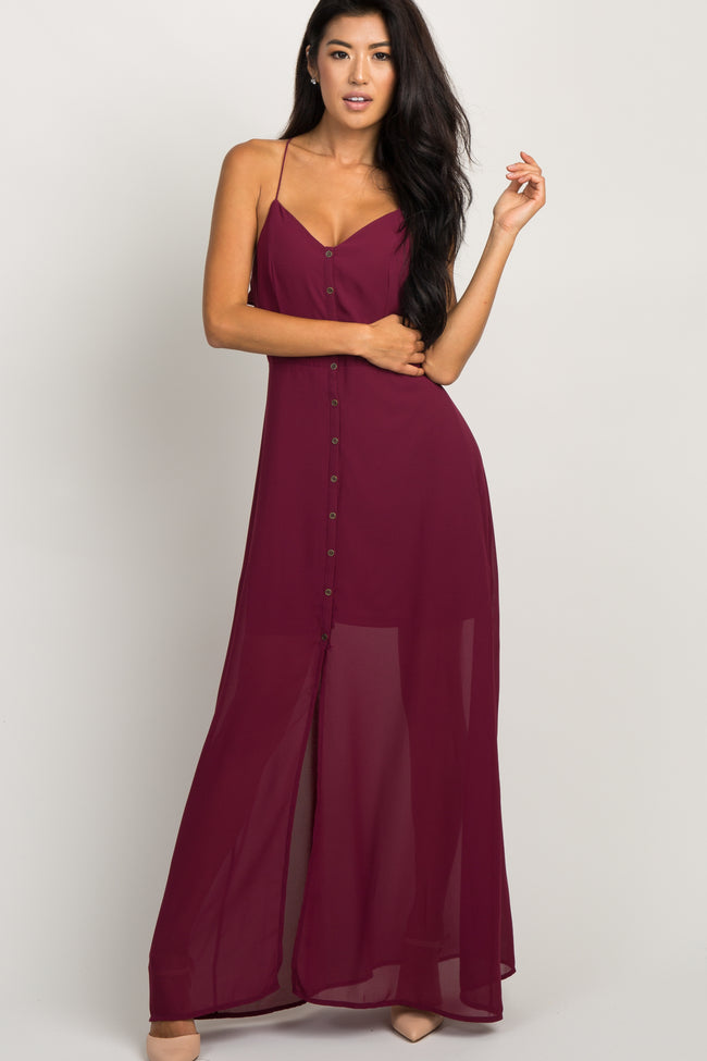 Burgundy Chiffon Button Front Maxi Dress