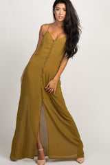 Olive Chiffon Button Front Maxi Dress