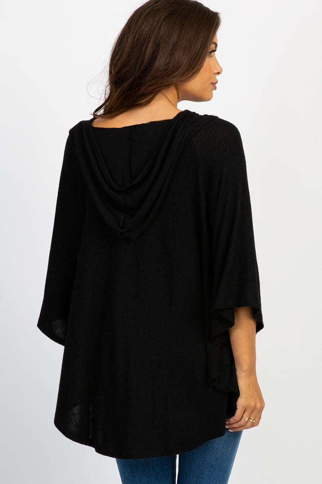 Black Hooded Poncho Knit Maternity Top