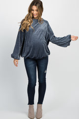 Navy Ribbed Velvet Puff Sleeve Maternity Sweater
