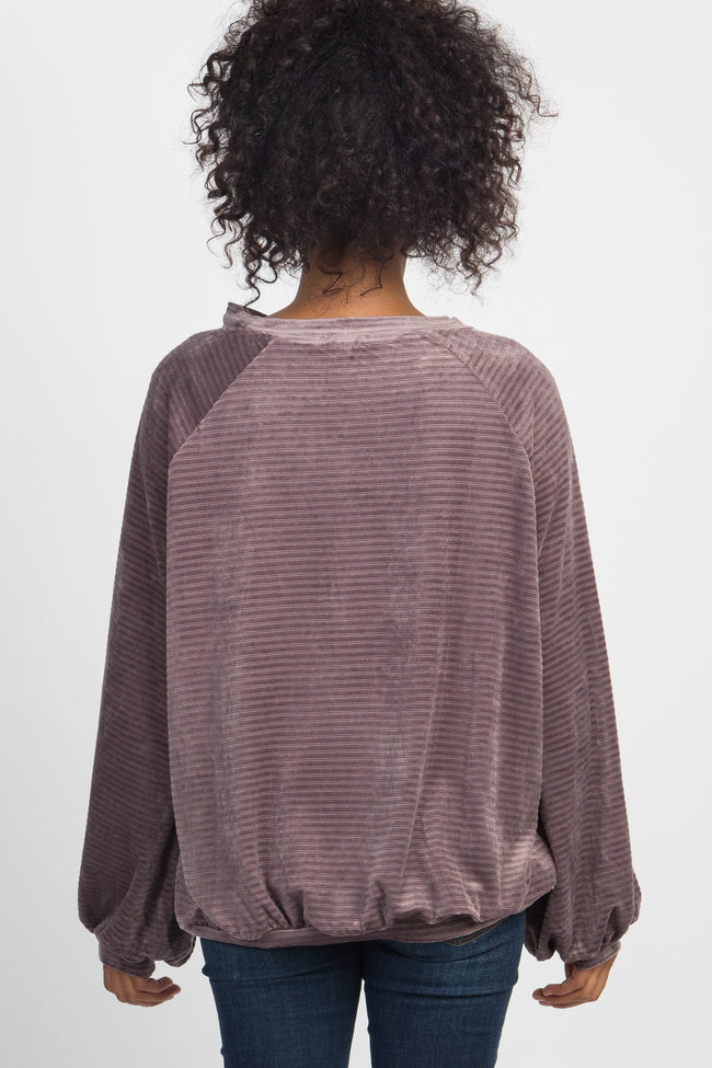 Purple Ribbed Velvet Puff Sleeve Sweater