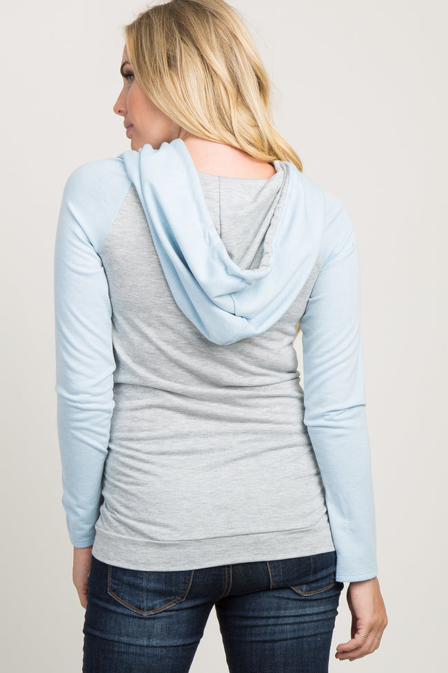 Blue Hooded Colorblock Maternity Top