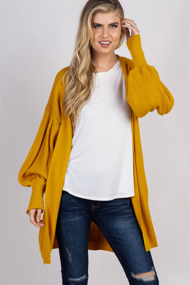 Yellow Knit Puff Sleeve Maternity Cardigan