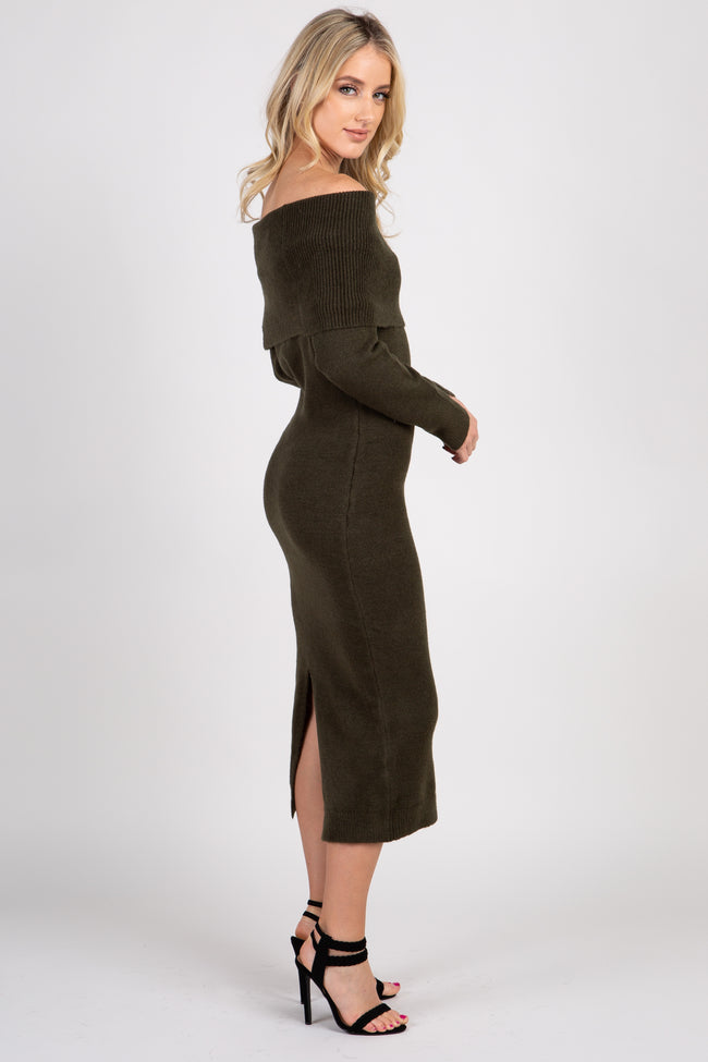 Olive Knit Off Shoulder Midi Dress