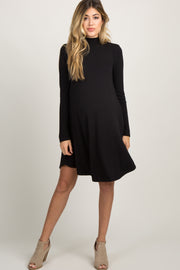 Black Mock Neck Long Sleeve Maternity Dress