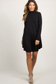 Black Mock Neck Long Sleeve Dress