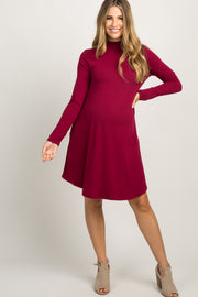 Burgundy Mock Neck Long Sleeve Maternity Dress