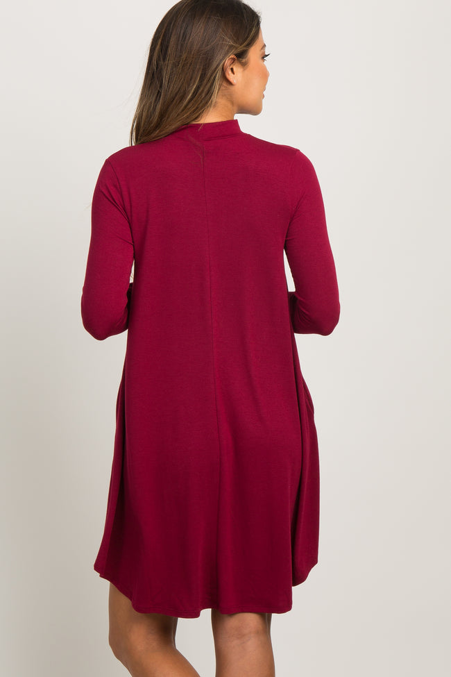 Burgundy Mock Neck Long Sleeve Dress