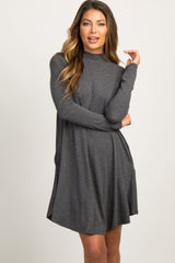 Charcoal Mock Neck Long Sleeve Dress