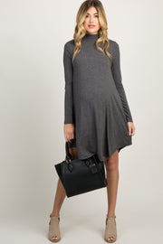 Charcoal Mock Neck Long Sleeve Maternity Dress