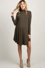 Olive Mock Neck Long Sleeve Maternity Dress