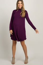 Plum Mock Neck Long Sleeve Maternity Dress