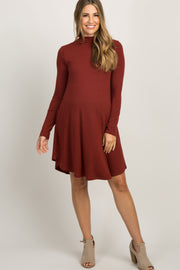 Rust Mock Neck Long Sleeve Maternity Dress