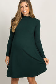 Forest Green Mock Neck Long Sleeve Maternity Dress