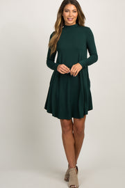 Forest Green Mock Neck Long Sleeve Dress