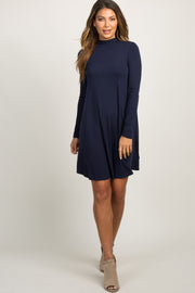 Navy Blue Mock Neck Long Sleeve Dress