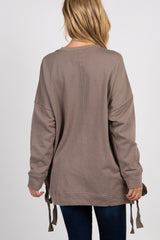 Taupe Solid Lace Up Long Sleeve Top