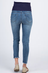 Blue Light Wash Distressed Frayed Maternity Jeans
