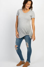 Blue Distressed Fringe Hem Maternity Jeans