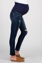 Navy Dark Wash Distressed Maternity Jeans