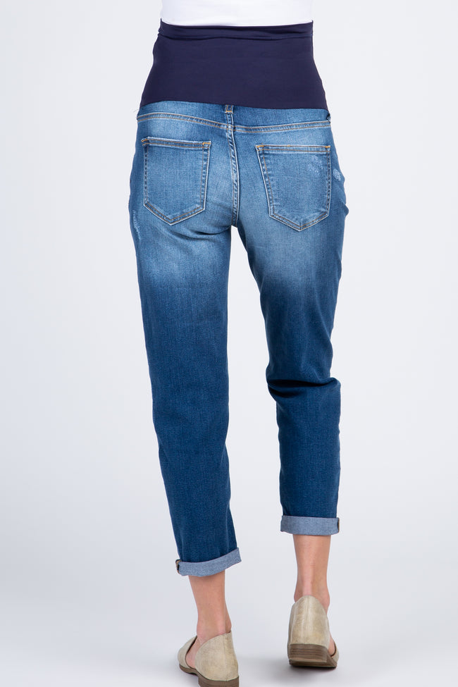 Blue Cropped Ripped Knee Maternity Boyfriend Jeans