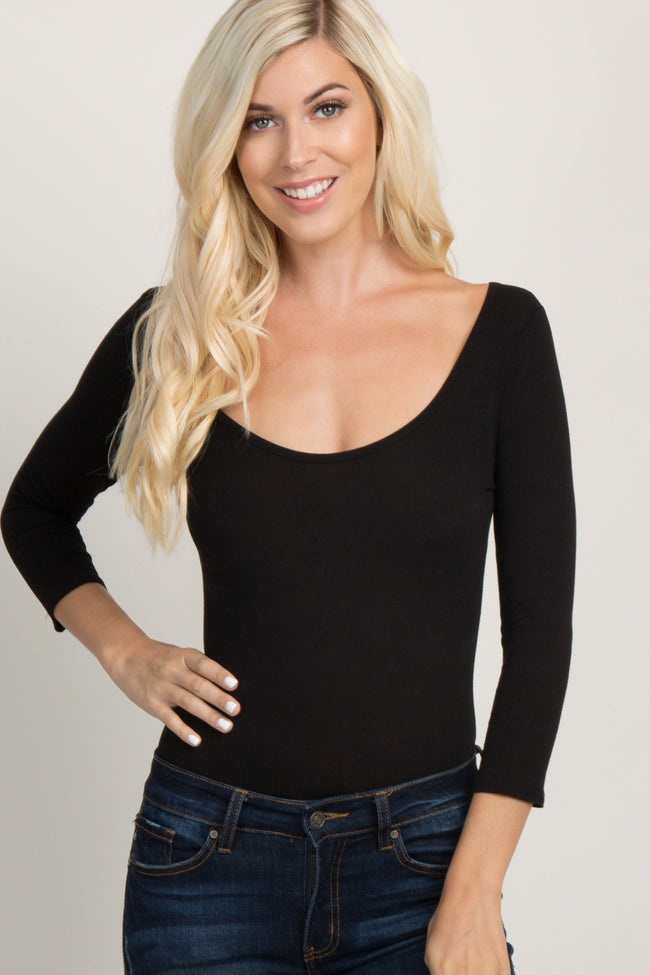 Black Solid 3/4 Sleeve Bodysuit