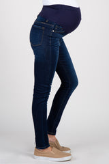 Dark Blue Wash Solid Skinny Maternity Jeans