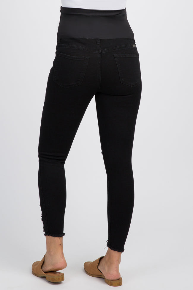 Black Distressed Cropped Maternity Skinny Jeans