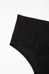 Black Ribbed Seamless Underwear