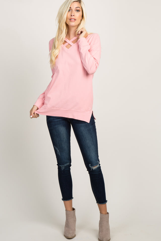 Pink Cross Front Maternity Sweater