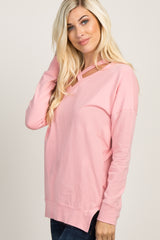 Pink Cross Front Sweater