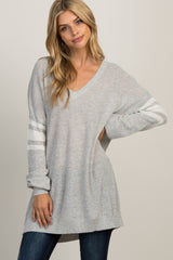 Grey Knit Striped Sleeve Sweater