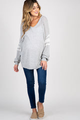 Grey Knit Striped Sleeve Maternity Sweater