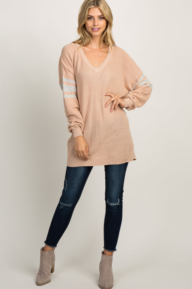 Peach Knit Striped Sleeve Sweater
