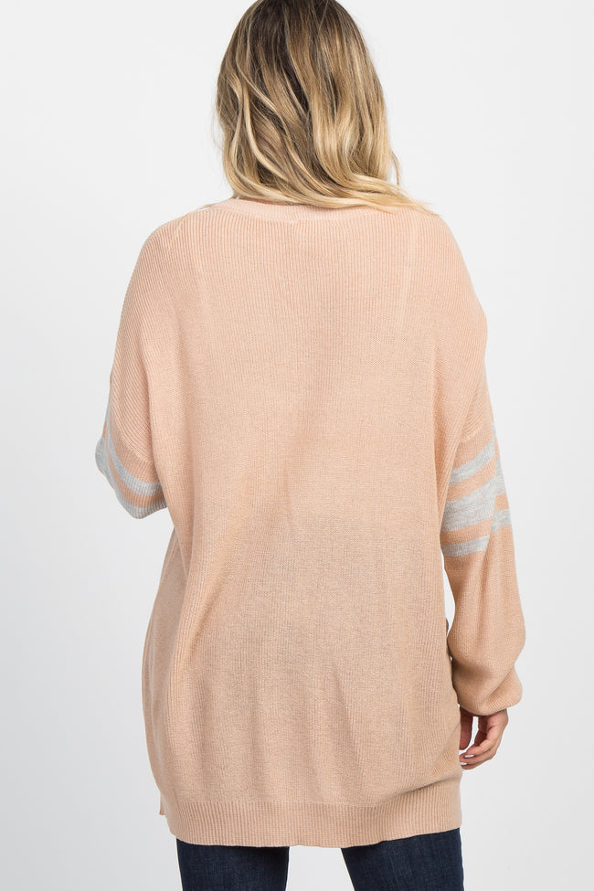 Peach Knit Striped Sleeve Maternity Sweater