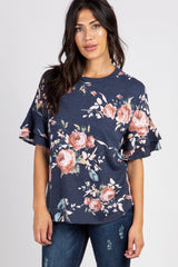 PinkBlush Navy Floral  Ruffle Sleeve Maternity Top